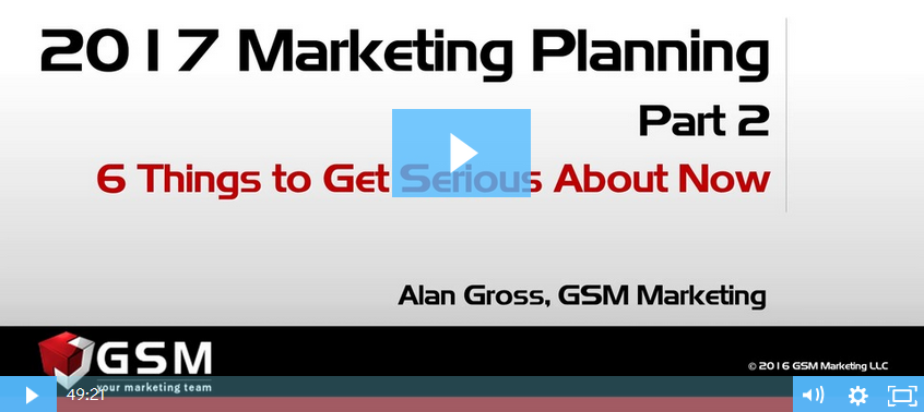 On-Demand Webinar - Marketing Planning: Six Things to Get Serious About Now (Part 2 of 2)